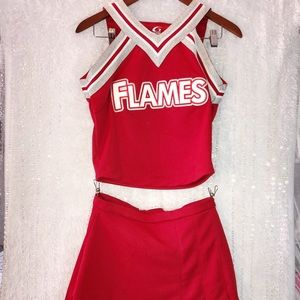 Cheerleader Costume M Women's FLAMES Authentic 3pc